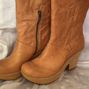 Women's mid calf,platform booties.